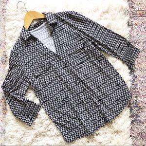 J. McLaughlin | Brynn Black Jersey Button Up Shirt